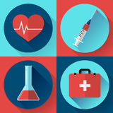 Trendy medical icons with shadow. Flat design style. Trendy flat medical icons with shadow. Vector elements injector, heart cardiogram, First aid case and blood Royalty Free Stock Photo
