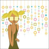 Trendy meisje met retro capiz erachter gordijn stock illustratie
