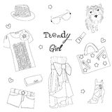 Trendy meisjesreeks stock illustratie