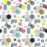 Trendy memphis cards. Abstract seamless pattern. Retro style texture, pattern and geometric elements. Modern abstract Stock Photography