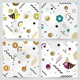 Trendy  Memphis style geometric pattern with flower and bird, ve Royalty Free Stock Photography