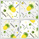 Trendy  Memphis style pineapple geometric pattern, vector. Illustration with line elements and  geometric figures. Design backgrounds for invitation, brochure Stock Image