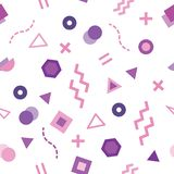Trendy Memphis style seamless pattern with cute geometric shapes colored in pastel purple royalty free illustration