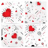 Trendy  Memphis style Valentines geometric pattern, vector. Illustration with line elements and abstract geometric figures. Design backgrounds for invitation Royalty Free Stock Images