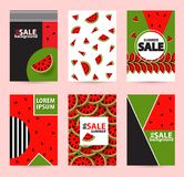 Trendy Memphis style watermelon geometric pattern, vector illust. Ration with line elements and  geometric figures. Design backgrounds for brochure and promotion Stock Photos