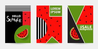Trendy Memphis style watermelon geometric pattern, vector illust. Ration with line elements and  geometric figures. Design backgrounds for brochure and promotion Stock Photo