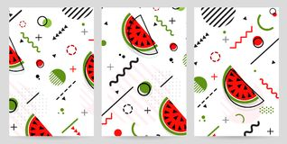 Trendy Memphis style watermelon geometric pattern, vector. Illustration with line elements and  geometric figures. Design backgrounds for invitation, brochure Royalty Free Stock Images