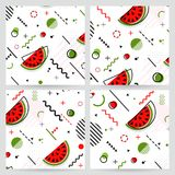 Trendy Memphis style watermelon geometric pattern, vector. Illustration with line elements and  geometric figures. Design backgrounds for invitation, brochure Royalty Free Stock Photography