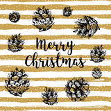 Trendy Merry Christmas card, Gold striped background, Hand-drawn design elements vector illustration