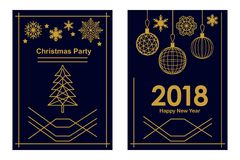 Trendy Merry Christmas and Happy New Year cards. Linear fir tree, snowflakes and decorations on black background. Set for festive covers, banners, posters Stock Photography