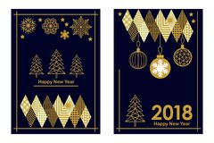 Trendy Merry Christmas and Happy New Year cards. Linear fir tree, snowflakes and decorations on black background. Set for festive covers, banners, posters Stock Image