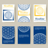 Trendy Mesh polygonal design style letterhead and Royalty Free Stock Images