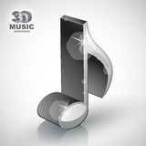 Trendy metallic slim musical note 3d modern style icon . Stock Photo
