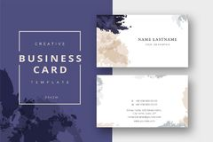 Trendy minimal abstract business card template in beige and blue. Modern corporate stationary id layout with geometric lines. Vector fashion background design Royalty Free Stock Images