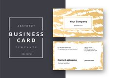 Trendy minimal abstract business card template in golden color. royalty free illustration