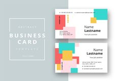 Trendy minimal abstract business card template. Modern corporate stationery id layout with geometric pattern. Vector fashion. Background design with information royalty free illustration
