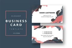 Trendy minimal abstract business card template. Modern corporate. Stationery id layout with artistic brush strokes. Vector fashion background design with vector illustration