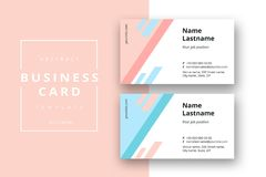 Trendy minimal abstract business card template with pink blue co vector illustration