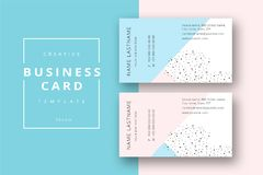 Trendy minimal abstract business card template in pink and blue. Royalty Free Stock Images