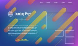 Trendy Minimal cover design layout or landing page web design template. Vector Geometric abstract halftone gradients. Trendy Minimal cover design layout or stock illustration