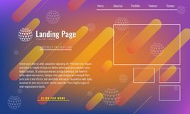 Trendy Minimal cover design layout or landing page web design template. Vector Geometric abstract halftone gradients. Trendy Minimal cover design layout or royalty free illustration