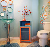Trendy modern bathroom. Modern powder room with trendy modern design and cute colors Stock Photography