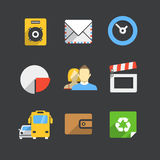 Trendy modern color web interface icons Royalty Free Stock Photos