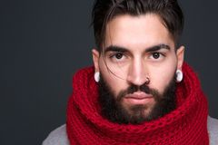 Trendy modern man with beard Stock Images