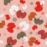 Trendy monotone in pink and red Blowing Gingko leaves seamless p. Attern vector in hand drawn style mix with circle stripe, for fashion ,fabric and all prints vector illustration