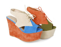Trendy multicolored platform wedges Stock Photo