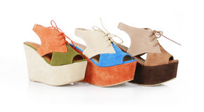 Trendy multicolored wedges shoes Royalty Free Stock Image