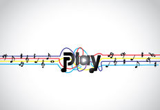 Trendy Music play icon or symbol with glowing play text art with colorful tones and notes Stock Images