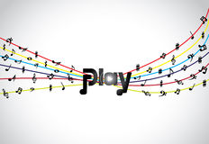 Trendy Music play icon or symbol with glowing play text art with colorful tones and notes Royalty Free Stock Photos