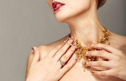 Trendy nail design and beautiful necklace Stock Image