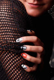 Trendy nails for Halloween. Beautiful cool nails with Halloween sample royalty free stock photo