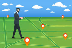 Trendy nerd hipster pedestrian goes on a virtual city map. This businessman wearing solid suit and holding smartphone in hands. Stock Images