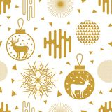Trendy New Year background. Seamless vector pattern with fir trees, Christmas balls, snowflakes and abstract geometric elements. Simple design for packaging Stock Images