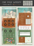 Trendy one page website template design Stock Images
