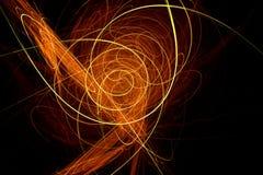 Trendy ontwerp met oranje en gele lichte golven Stock Foto