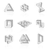 Trendy optical illusion shapes on white. Vector Stock Photography