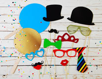 Trendy party background of photo booth accessories Royalty Free Stock Image
