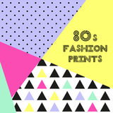 Trendy pattern in 80s style for your decoration. Can be used as banner, frame, as throw pillows or phone cases design etc Stock Photo