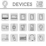 Trendy PC, computer, mobile gadgets and device line icons and buttons . Graphic vector symbols and elements of technologies. Can b Royalty Free Stock Photo