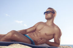 Trendy perfct body guy Stock Photography