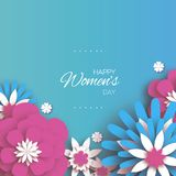 Trendy Pink Blue Happy Women`s Day. 8 March. Origami Floral Greeting Card. Paper cut Flowers. Mother`s day. Text. Spring stock illustration