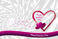 Trendy pink vector of love on the abstract background stock images