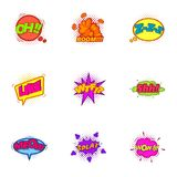 Trendy pop art label icons set, cartoon style Stock Photos