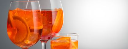 Summer refreshing faintly alcoholic cocktail Aperol spritz in a. Trendy popular Italian drink Summer refreshing faintly alcoholic cocktail Aperol spritz in a royalty free stock photos