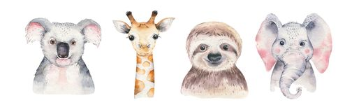 A poster with a baby panda, sloth, giraffe and koala. Watercolor cartoon elephant tropical animal illustration. Jungle