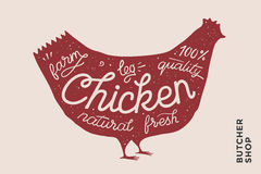 Trendy poster with red chicken silhouette Royalty Free Stock Images
